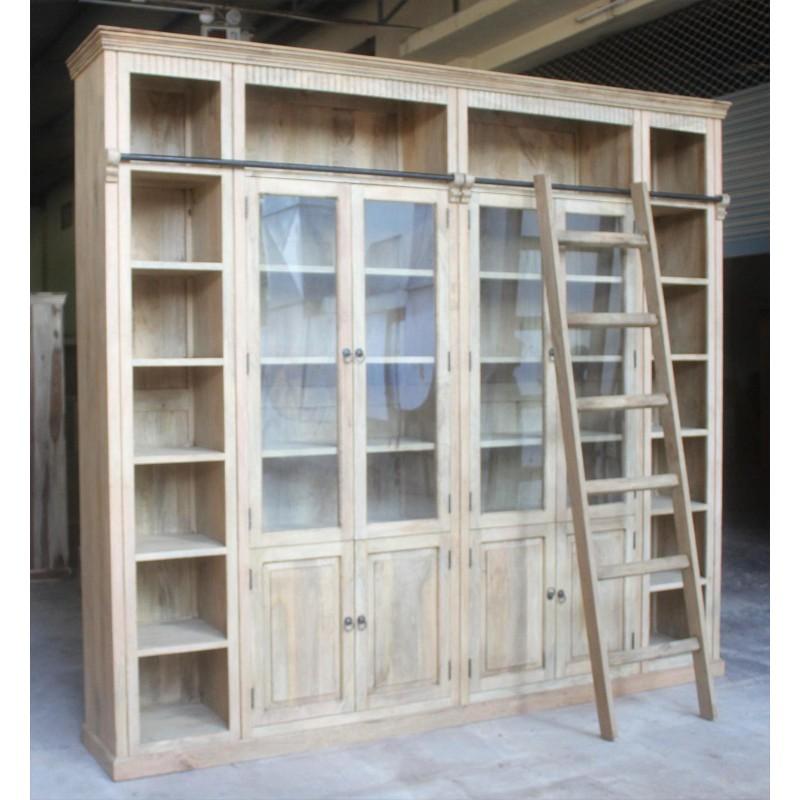 Drewniana biblioteczka kolonialna 270x300
